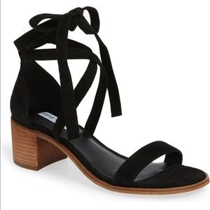Steve Madden Rizzaa Ankle Tie Black Sandals - 7.5